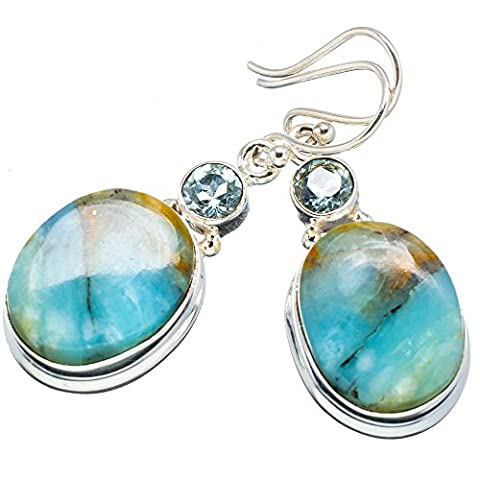 Ana Silver Co Peruvian Opal, Blue Topaz 925 Sterling Silver Earrings 1 1/2