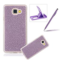 For Samsung Galaxy J3 Prime/J3 2017 Cover,For Samsung Galaxy J3 Prime/J3 2017 Rubber Case,Herzzer Super Slim [Purple Gradient Color Changing] Dust Resistant Soft Flexible TPU Bling Glitter Protective Case for Samsung Galaxy J3 Prime/J3 2017 + 1 x Free Pur