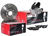 BREMBO SPORT MAX LINE BREMSEN SET VORNE mit 2x Bremsscheiben Geschlitzt, Beschichtet und Belüftet + 4x Bremsbelägen, inklusive Montagehandschuhe, Bremsensatz Scheibenbremse Bremsen Set, Bremskit, Brem