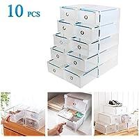 Vinteky® 10x Cajas Almacenaje plegable de plástico Cajón Organizador Transparente envase de la caja para zapatos Apilable Plegable Contenedor.