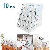Vinteky® weiß/klar Kunststoff Faltbare Schuh Box Schuhschachtel Schuhboxen 10 Stück Schuhaufbewahrung - Einzelschuhbox ca.30 x 18,5 x 9,5cm