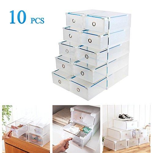 Foto de Vinteky® 10x Cajas Almacenaje plegable de plástico Cajón Organizador Transparente envase de la caja para zapatos Apilable Plegable Contenedor.