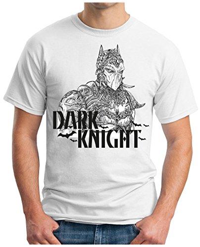 OM3 - Dark-Knight - T-Shirt Clown Joker Pinguin Mr. Freeze Jack GHC Emo Swag Geek, M, Weiß (Dark Knight Clown)