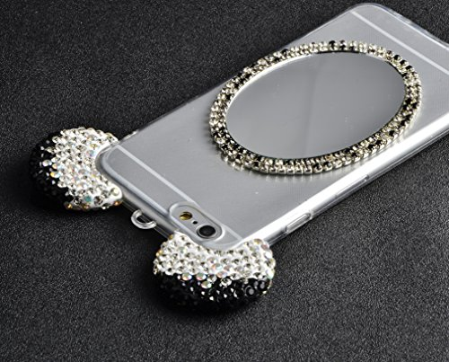 iPhone 7 Plus Hülle, Vandot Glitzer Glänzend Transparent Case für iPhone 7 Plus Handmade Schutzhülle TPU Silikon Diamant Bling Shining Glitter Weich Zurück Cover Telefonkasten Maus Mouse Ohr Ear Ultra Mickey Schwarz