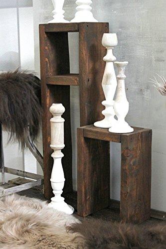 dekorie67 Holz Beistelltisch Hocker Tisch Set braun fertig montiert -