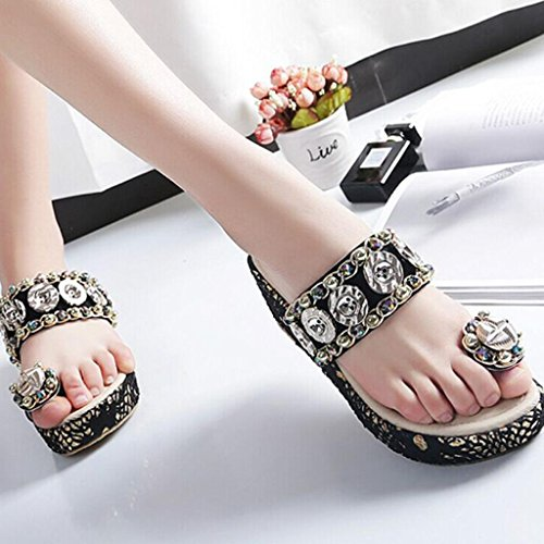 Frauen Flip Flop Sandalen Strand Wedges Plattform Massage Thong Hausschuhe Crystal Bling Steine ??Stil Black