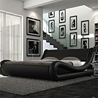 4ft6 Italian Designer Faux Leather Double Mallorca Bed Frame in BLACK by Frankfurt & Co