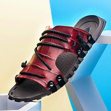 Slippers & amp da uomo;Comfort in pelle Ufficio & amp;Carriera Casual Blu Verde Rosso Marrone Nero Sa sandali US6-6.5 / EU38 / UK5-5.5 / CN38