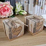 euwanyu 50pcs Candy Boxes Party Favour Boxes Vintage Kraft Bonbonniere with 50pcs Burlap Twine Love Heart Imitation Bark Gift Boxes for Wedding Party Baby Shower Decoration (Love Heart Style_01)