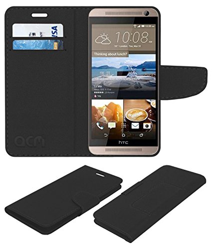 ACM Mobile Leather Flip Flap Wallet Case for HTC One Me Dual Mobile Cover Black