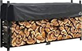ShelterLogic Kaminholzregal, Kaminholzhalter, Aufbewahrungsregal mit Abdeckung 240cm // Brennholzregal für Kaminholz