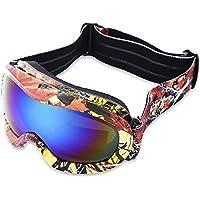 Wenquan,Doble protección UV Antivaho Gafas de esquí Máscara Niño Snowboard Gafas(Color:Colormix,Size:Placa Azul con Marco Rojo)