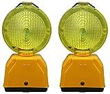 ADO Baliza de señalización/lampara de Destellos para la señalización de Obras en plástico PVC en Color Ambar. No Incluye baterias (2- Balizas/lamparas Destellos)