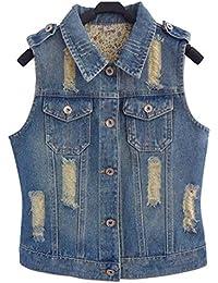 Chaleco Vaqueros Mujer Elegante Slim Fit Chaquetas Vintage Primavera Azul Otoño  Modernas Casual Outerwear Bolsillos Delanteros ca2491f3e260