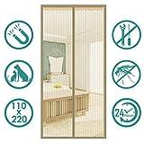Fliegengitter Tür Moskitonetz Tür,Säugling und Sommer müssen ,Insektenschutz Magnet Vorhang Fliegenvorhang für Balkontür Wohnzimmer,,Mücken abweisen,90 * 200cm,Brown