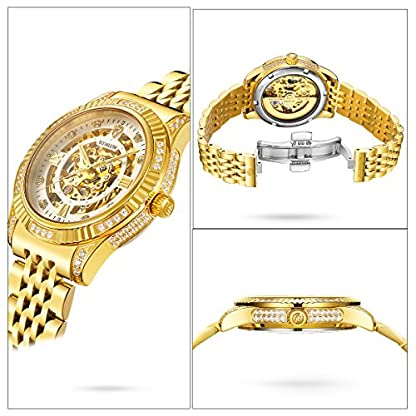 BINLUN-Herren-Uhren-Analog-Automatik-mit-18k-Vergoldet-Edelstahl-Armband-Skelett-BL0018G