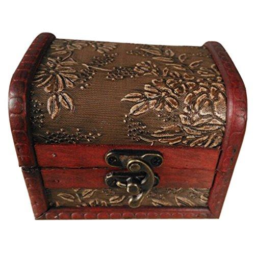Joyero - SODIAL(R)caja de bronce y madera de collar regalo y joyeria de estilo antiguo relieve de
