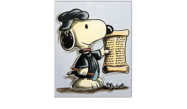 Original Feder und Aquarell auf Aquarellkarton 24x32 cm LUTHER Snoopy