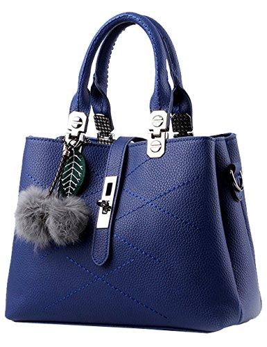 Menschwear Leather Tote Bag lucida PU nuove signore borsa a tracolla Cielo Blu Blu