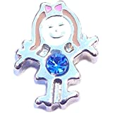 September birthstone GIRL - 8mm floating charm fits Living memory and Origami Owl style lockets