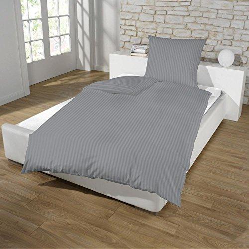 Dreamhome24 Hotel Damast Luxus Satin Baumwolle Bettwäsche 135x200 + 80x80 Kissenbezug Reißverschluss od Hotelverschluss, Farbe:GRAU, Größe:HOTELVERSCHLUSS