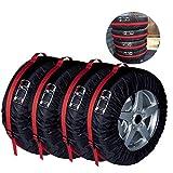 Große Reifen Taschen Robust Reifentaschen Autorädertaschen Passend für Winter Sommer Reifen Reifentypen Weniger Als 80cm Durchmesser ELR Schwarz Premium 4-tlg.