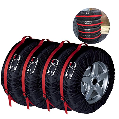 Wasserdicht Reifen Taschen Dehnbare Reifentaschen Autorädertaschen Passend für Winter Sommer Reifen Reifentypen Weniger Als 66cm Durchmesser ELR Schwarz Premium 4-tlg.