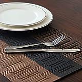 TOP Marques Collectibles Top Finel 4er Set Umweltfreundlich PVC Tischset - abwaschbar Platzset Platzmatten für Dekoration und Küche, 30 x 45 cm,Braun und Schwarz - 6