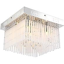 LED 9,5 Watt luce cristallo vetro cromo sala da pranzo tavolo quadrato lampada da soffitto