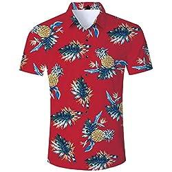 Loveternal Camisa Hawaiana Hombres Piña Gráfico 3D Camisetas de Playa Casual de Manga Corta Funky Holiday Shirt Rojo M