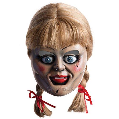 Herren Damen, offizielles Design'Annabelle-Perücke Halloween Kostüm Maske mit (Kostüm Perücke Annabelle)