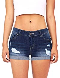 b19a504ab4 Familizo Denim Pantalones Cortos Mujer Básicos Gimnasio Pantalones Cortos  Mujer Verano Vaqueros Cintura Alta Short Yoga