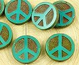4pcs Picasso Brun Foncé Opaque Turquoise Green Peace Signe de l'Amour de l'Arbre De Vie Pendentif de Charme Pièce à Plat de la Table Ronde Découpe de la Fenêtre de Verre tchèque Perles