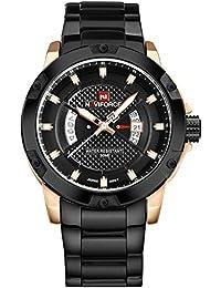 los deportes de los nuevos hombres populares doble miran los relojes de los hombres con estilo sólido caja de oro rosa esfera de color negro cómodo fresco robusto