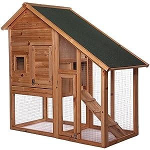 [Gesponsert]dibea RH10012, Kleintierstall Holz (140 x 64 x 119 cm), geräumiger 2-Etagen Käfig mit herausziehbarer Schublade, 2 Türen, für Kaninchen Hamster Hasen Meerschweinchen