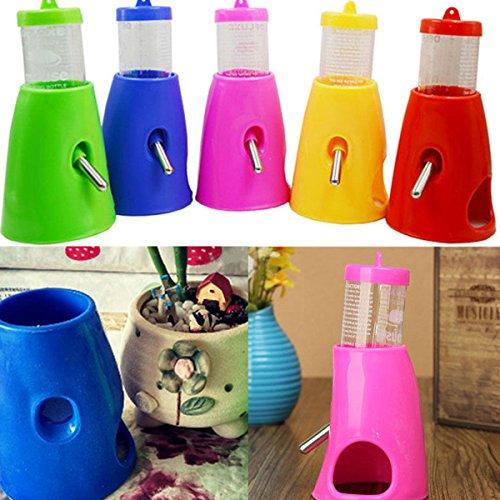 FOCUSPET Hamster Mäusen Wasserflasche Nipple Inhaber Dispenser mit Base Hütte fuer Nagerkäfige