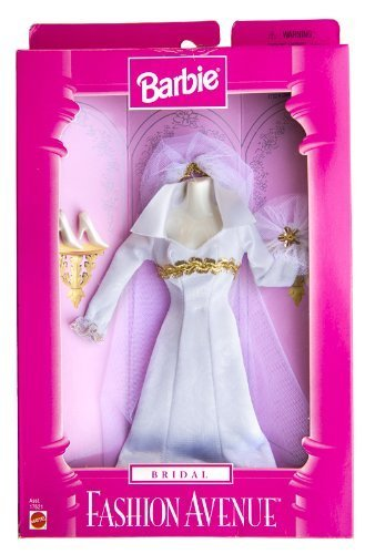 Barbie Fashion Avenue Bridal Dress ~ Form Fitting w/Gold Trim Fashion Dress Forms