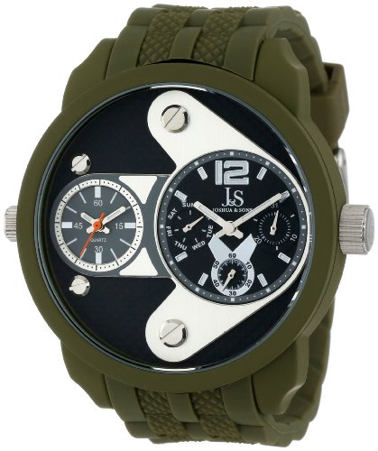 Joshua & Sons Men's Sporty Dual Time Multifunction Watch with Black Dial and Green Plastic Band JS52GN