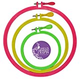 #2: AsianHobbyCrafts Plastic Embroidery Hoop Ring Frame : Set of 3pcs: for Cross Stitch Craft, Sewing Tool, Embroidery