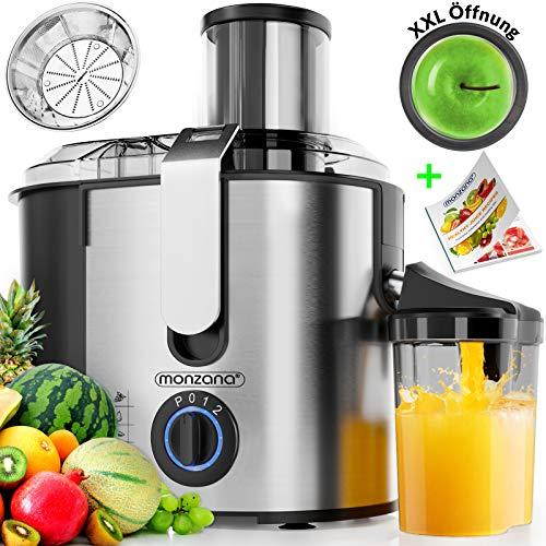 Monzana® Entsafter Obst Gemüse Edelstahl max. 1100W große 85mm Einfüllöffnung inkl. Reinigungsbürste Rezeptheft Saftbehälter 3 Geschwindigkeitsstufen