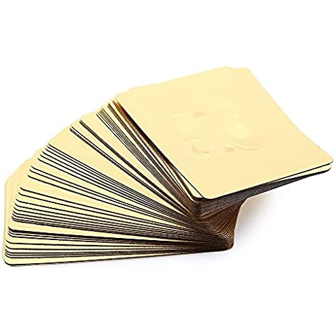 Efficiat (TM) di lusso 24K di alta qualit¨¤ lamina d'oro Poker Playing Card Deck Carta (Box Parati)