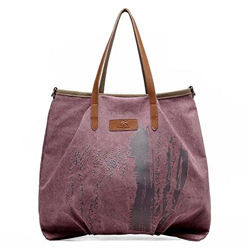 Sacchetto di tela di canapa delle signore spalla casuale selvaggia di modo purple color
