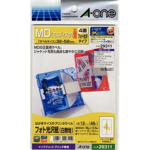 (Mini Disc) Front f_r vierseitige Fotopapier (plain white) Etikettendrucker MD-Einer der (A-one) Postkartengr__e 12 Blatt (48 St_ck) 29 311 (Japan-Import)