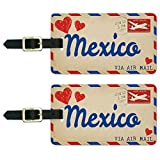 Graphics & More Air Mail Postcard Love for Mexico Luggage Suitcase Carry-on Id Tags, White