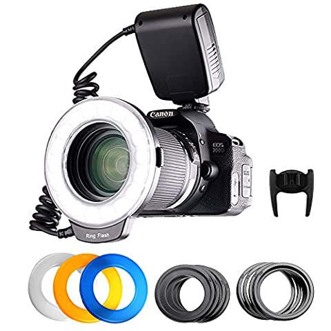 FOSITAN RF-600D 18 LED Makro Ring Blitzlicht für Nikon Canon Kamera DSLR mit LCD Display Power Control, 8 Adapter Ringe, 4 Licht Diffusor