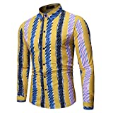 Realde Herren Langarmshirt Hemd T-Shirt Mode Freizeit Farbe 3D Druck Knopf Langarmshirt Passt super auch zur Jeans Männer Herbst und Winter BequemTops Oberteil