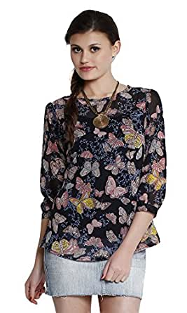 The Gud Look Women's Poly Chiffon Printed Top (10001401-XS_Multi)