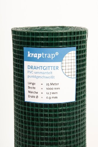 kraptrap® Volierendraht grün Drahtgitter 12x12mm Masche 1x25m Maschendraht Käfigdraht Schweißgitter
