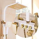 GFEI Haushalt Zubehör für das Badezimmer GFEI europäischen Stil Bad Dusche duschen Wasserhahn Gesetzt - Platz Blockieren Düse heiß und Kalt, Weißes Gold Kupfer Waffe Spray