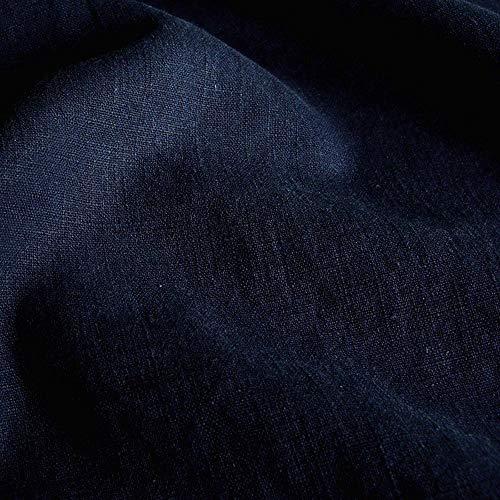 TOLKO Leinen-Stoff Meterware zum Nähen, blickdichter Naturstoff für Bekleidung, Gewänder, Vorhänge und Deko (Nacht-Blau) -